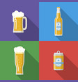 beer mug glass bottle beer can vector image vector image