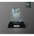 blank glass trophy award on a transparent vector image vector image