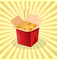 box of wok noodles - cute cartoon colored picture vector image