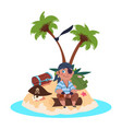 boy pirate sits on treasure island - cartoon vector image vector image