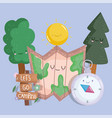 camping forest trees map and cpmpass in cartoon vector image vector image