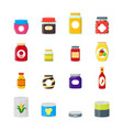 cartoon canned and jar food color icons set vector image