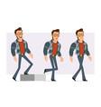 cartoon strong disco man character set vector image