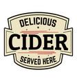 cider label or sticker vector image vector image