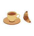 coffee and croissant icons vector image