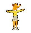 comic cartoon pointing fox woman vector image