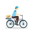 Delivery Bicycle Man with Carton Box vector image vector image