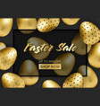 easter sale banner with golden patterned eggs vector image
