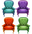 Four color of armchairs vector image