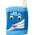 funny blue milk paper box bottle cartoon vector image vector image