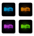 glowing neon smart car alarm system icon isolated vector image