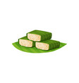 glutinous rice in green banana leaves traditional vector image vector image