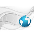 grey smooth waves with hud elements and blue globe vector image vector image