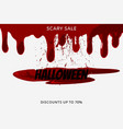 halloween sale inscription on bloody stain on vector image vector image