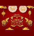 happy chinese new year 2020 with golden rat symbol vector image vector image