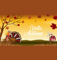 hello autumn thanks giving card vector image