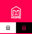 home logo h monogram real estate building vector image