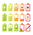 icon set with different status of battery charger vector image vector image