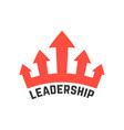 leadership icon with red crown vector image vector image