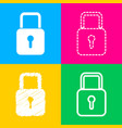 lock sign four styles of icon on vector image