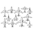 modern civil and military aircraft set vector image
