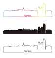 Nantes skyline linear style with rainbow vector image vector image