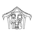 outlined manger mary joseph baby jesus nativity vector image vector image