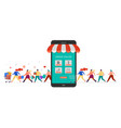 people shopping online using mobile phone happy vector image vector image