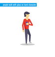 people walk with glass on hand character vector image vector image