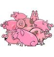 pigs farm animal cartoon characters group vector image vector image