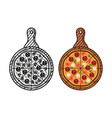 pizza on wooden board objects in two styles vector image vector image