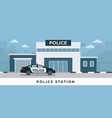 police station department building with police car vector image vector image