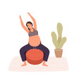 pregnancy woman practicing workout on aerobic ball vector image vector image