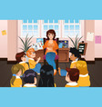 preschool teacher reading a book during story time vector image