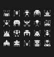 robot white silhouette icons set vector image vector image