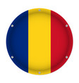 round metallic flag of romania with screws vector image