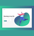 running people landing page template fitness vector image