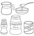 set of condensed milk vector image vector image