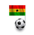 Soccer Balls Footballs with pennant flag of Gana vector image