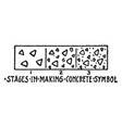 stages in making concrete material symbol concept vector image vector image