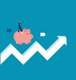 teamwork riding piggy bank on arrow sign concept vector image