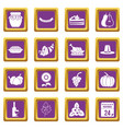 thanksgiving icons set purple vector image vector image
