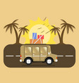 travel car campsite place landscape palm birds vector image