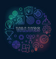 values round concept colored outline vector image vector image