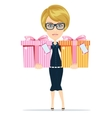 Woman holds gifts for you vector image vector image