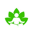 yoga fitness icon lotus position on white vector image vector image