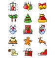 thin simply Christmas icons set vector image