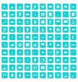 100 dish icons set grunge blue vector image vector image