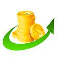 arrow stack dollar coins vector image vector image