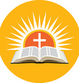 Bible sunset and cross Church logo concept Icon in vector image vector image